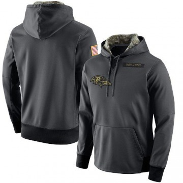 Men's Nike Baltimore Ravens Anthracite Salute to Service Player Performance Hoodie -