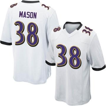 Men's Nike Baltimore Ravens Ben Mason White Jersey - Game