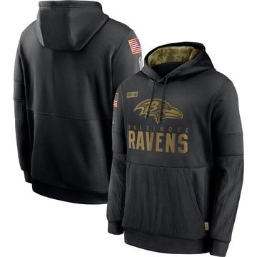 Men's Nike Baltimore Ravens Black 2020 Salute to Service Sideline Performance Pullover Hoodie -
