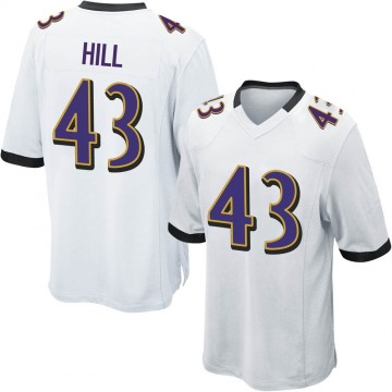 Men's Nike Baltimore Ravens Jaylen Hill White Jersey - Game