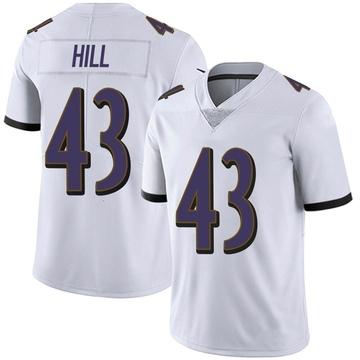 Men's Nike Baltimore Ravens Jaylen Hill White Vapor Untouchable Jersey - Limited