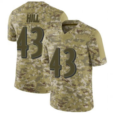 Men's Nike Baltimore Ravens Justice Hill Camo 2018 Salute to Service Jersey - Limited