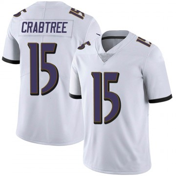 Men's Nike Baltimore Ravens Michael Crabtree White Vapor Untouchable Jersey - Limited