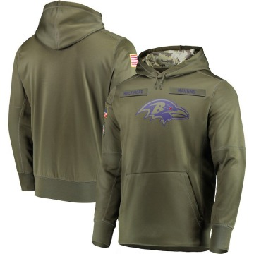 Men's Nike Baltimore Ravens Olive 2018 Salute to Service Sideline Therma Performance Pullover Hoodie -