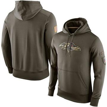 Men's Nike Baltimore Ravens Olive Salute To Service KO Performance Hoodie -