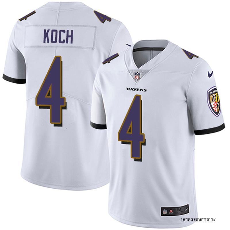 Men's Nike Baltimore Ravens Sam Koch White Jersey - Limited