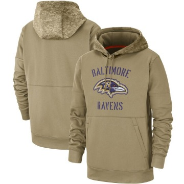 Men's Nike Baltimore Ravens Tan 2019 Salute to Service Sideline Therma Pullover Hoodie -