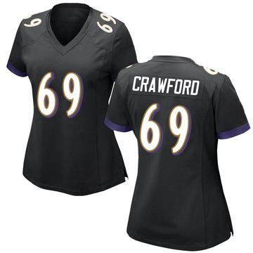 Women's Nike Baltimore Ravens Aaron Crawford Black Jersey - Game