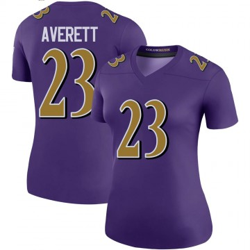 Women's Nike Baltimore Ravens Anthony Averett Purple Color Rush Jersey - Legend