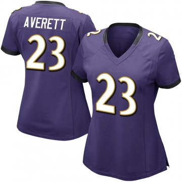Women's Nike Baltimore Ravens Anthony Averett Purple Team Color Vapor Untouchable Jersey - Limited