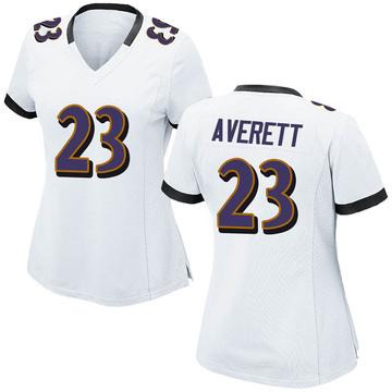 Women's Nike Baltimore Ravens Anthony Averett White Jersey - Game