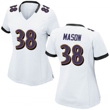 Women's Nike Baltimore Ravens Ben Mason White Jersey - Game
