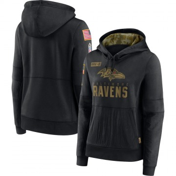 Women's Nike Baltimore Ravens Black 2020 Salute to Service Performance Pullover Hoodie -