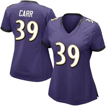 Women's Nike Baltimore Ravens Brandon Carr Purple Team Color Vapor Untouchable Jersey - Limited
