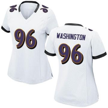 Women's Nike Baltimore Ravens Broderick Washington Jr. White Jersey - Game