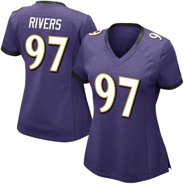 Women's Nike Baltimore Ravens Chauncey Rivers Purple Team Color Vapor Untouchable Jersey - Limited