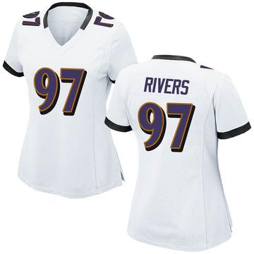 Women's Nike Baltimore Ravens Chauncey Rivers White Jersey - Game