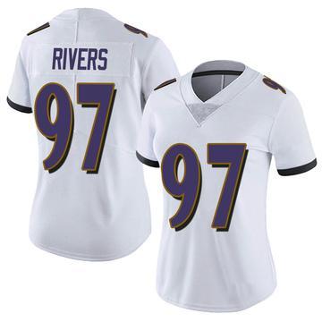 Women's Nike Baltimore Ravens Chauncey Rivers White Vapor Untouchable Jersey - Limited