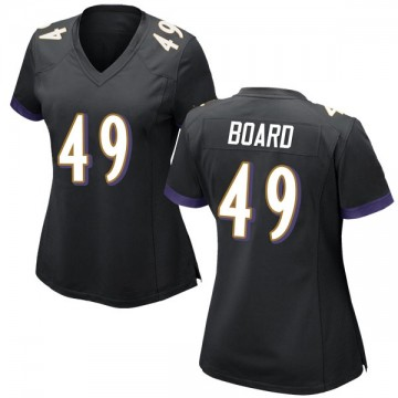 Women's Nike Baltimore Ravens Chris Board Black Jersey - Game