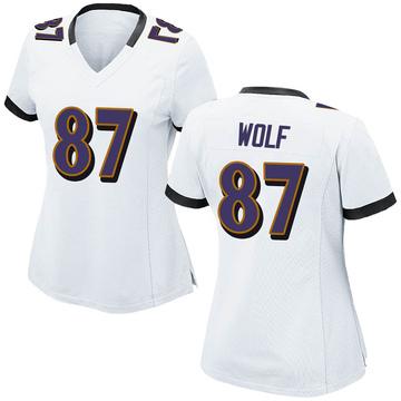Women's Nike Baltimore Ravens Eli Wolf White Jersey - Game