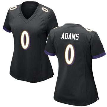 Women's Nike Baltimore Ravens Evan Adams Black Jersey - Game