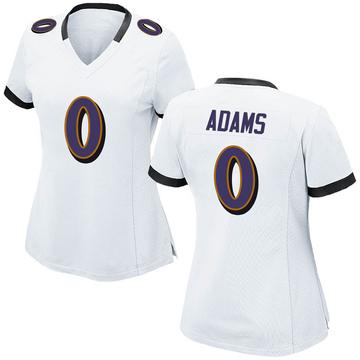 Women's Nike Baltimore Ravens Evan Adams White Jersey - Game