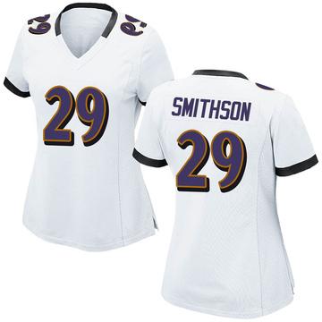 Women's Nike Baltimore Ravens Fish Smithson White Jersey - Game