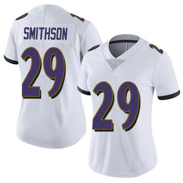 Women's Nike Baltimore Ravens Fish Smithson White Vapor Untouchable Jersey - Limited