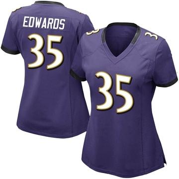 Women's Nike Baltimore Ravens Gus Edwards Purple Team Color Vapor Untouchable Jersey - Limited