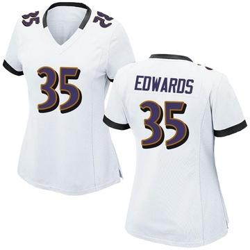 Women's Nike Baltimore Ravens Gus Edwards White Jersey - Game