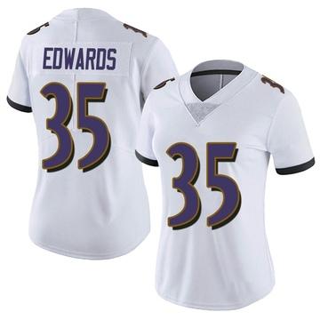 Women's Nike Baltimore Ravens Gus Edwards White Vapor Untouchable Jersey - Limited