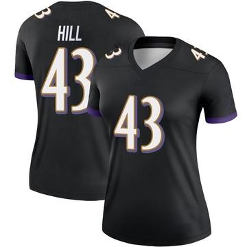 Women's Nike Baltimore Ravens Jaylen Hill Black Jersey - Legend