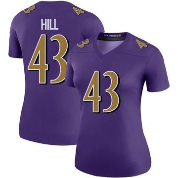 Women's Nike Baltimore Ravens Jaylen Hill Purple Color Rush Jersey - Legend