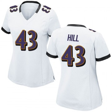 Women's Nike Baltimore Ravens Jaylen Hill White Jersey - Game
