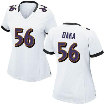 Women's Nike Baltimore Ravens John Daka White Jersey - Game