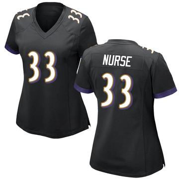 Women's Nike Baltimore Ravens Josh Nurse Black Jersey - Game