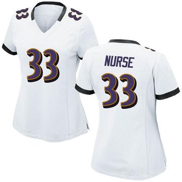 Women's Nike Baltimore Ravens Josh Nurse White Jersey - Game
