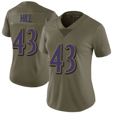 Women's Nike Baltimore Ravens Justice Hill Green 2017 Salute to Service Jersey - Limited