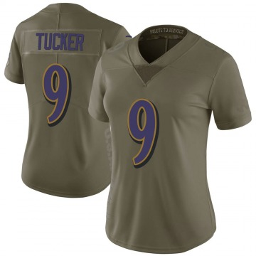 Women's Nike Baltimore Ravens Justin Tucker Green 2017 Salute to Service Jersey - Limited