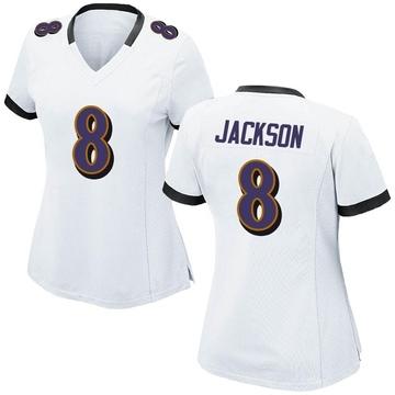 Women's Nike Baltimore Ravens Lamar Jackson White Jersey - Game