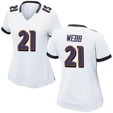 Women's Nike Baltimore Ravens Lardarius Webb White Jersey - Game