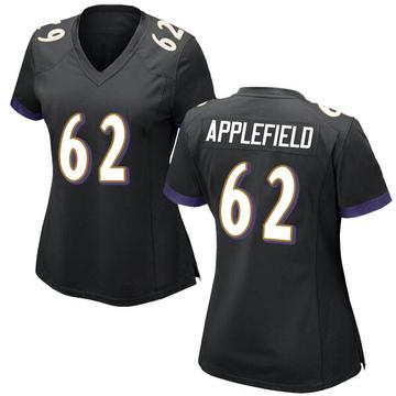 Women's Nike Baltimore Ravens Marcus Applefield Black Jersey - Game