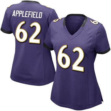 Women's Nike Baltimore Ravens Marcus Applefield Purple Team Color Vapor Untouchable Jersey - Limited