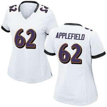 Women's Nike Baltimore Ravens Marcus Applefield White Jersey - Game