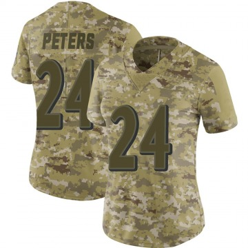 Women's Nike Baltimore Ravens Marcus Peters Camo 2018 Salute to Service Jersey - Limited