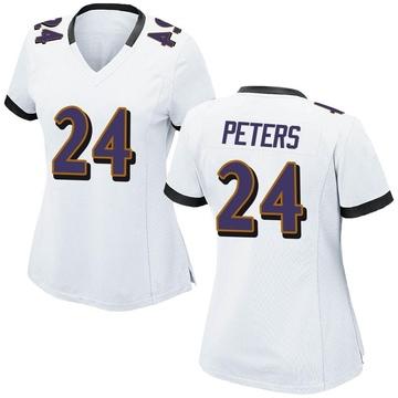 Women's Nike Baltimore Ravens Marcus Peters White Jersey - Game