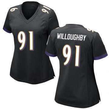 Women's Nike Baltimore Ravens Marcus Willoughby Black Jersey - Game