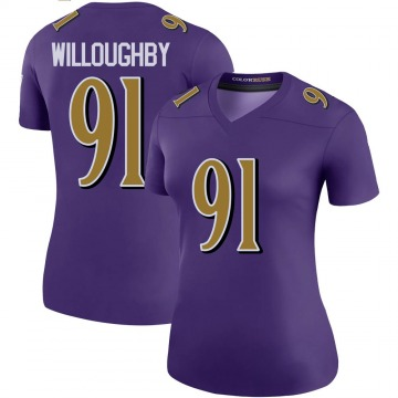 Women's Nike Baltimore Ravens Marcus Willoughby Purple Color Rush Jersey - Legend