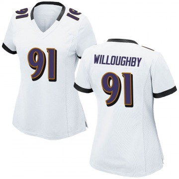Women's Nike Baltimore Ravens Marcus Willoughby White Jersey - Game