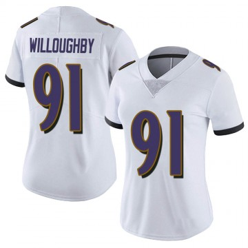 Women's Nike Baltimore Ravens Marcus Willoughby White Vapor Untouchable Jersey - Limited